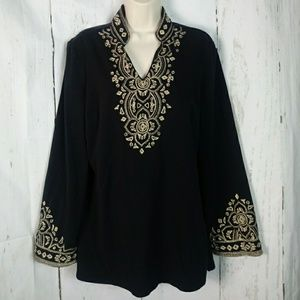 North Style m Metallic Gold Embroidered Tunic